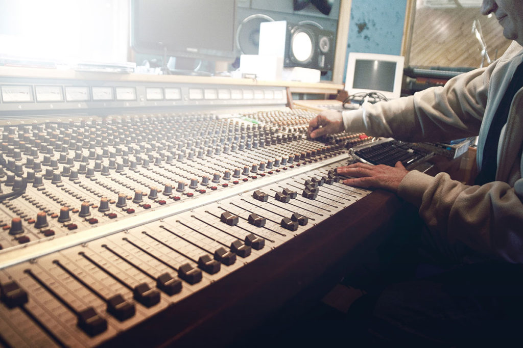 Man in mastering studio