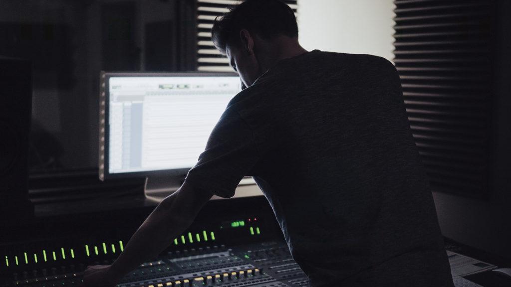 Man in music studio